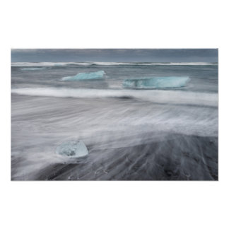 Rough Seascape with ice, iceland Poster