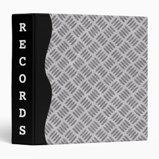 Rough silver metal plate masculine slate gray 3 ring binder