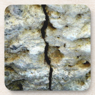 Rough stone with crack drink coaster