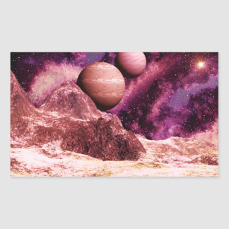 Rough Terrain Purple Sky Alien World Rectangular Sticker