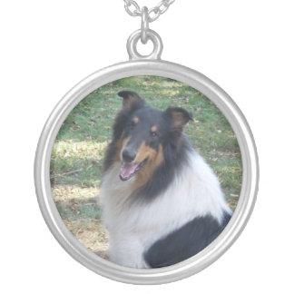 Rough Tri Collie Round Pendant Necklace