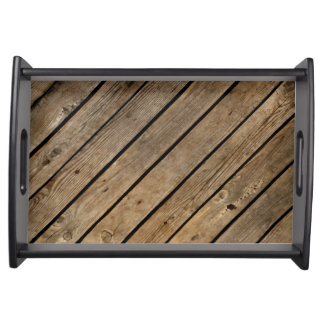 Rough Wood Planks Design Serving Tray