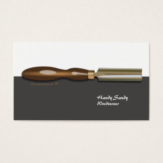 Roughing Gouge Woodturning Blk White Business Card