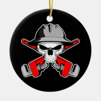 Roughneck Skull and Crossed Wrenches Ceramic Ornament