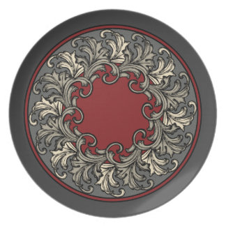 Rouleau Baroque Rouge Dinner Plate