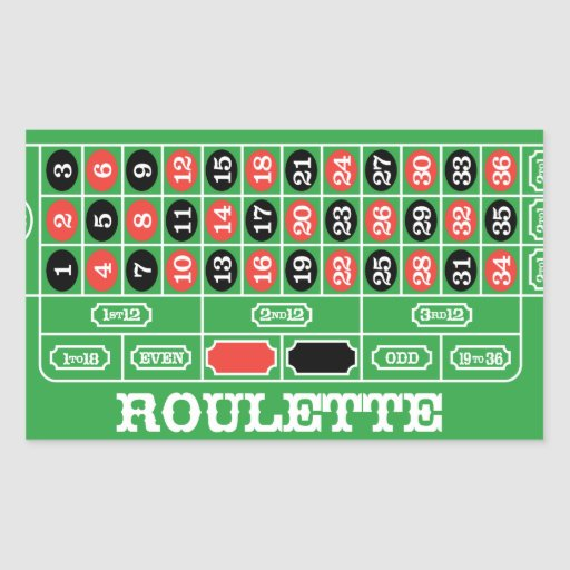 Roulette Table - Casino Gamble To Win Rectangular Sticker