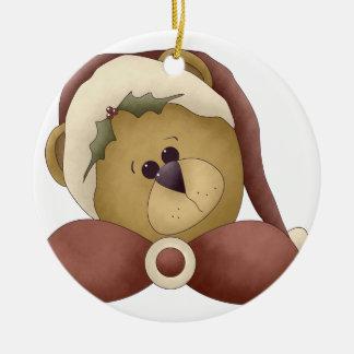 Round 1 del ornamento del oso de Santa Adorno De Reyes