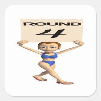 Round 4 square sticker
