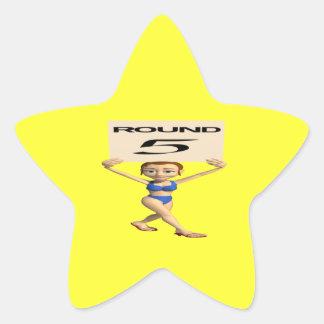 Round 5 star sticker