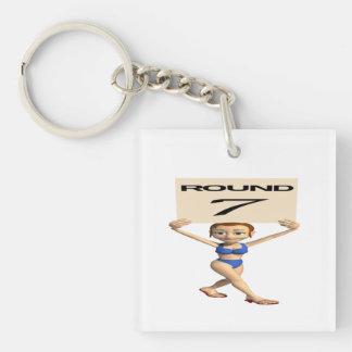 Round 7 Single-Sided square acrylic keychain