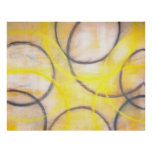 'Round About' Grey and Yellow Abstract Art Poster