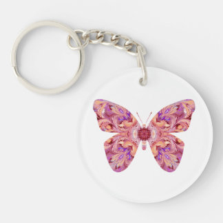 Round Acrylic Butterfly Keychain