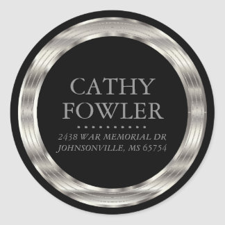 Round Address Black and Silver Labels