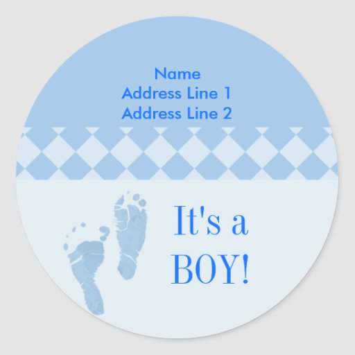 Round Address Label Blue Baby Feet Baby Shower