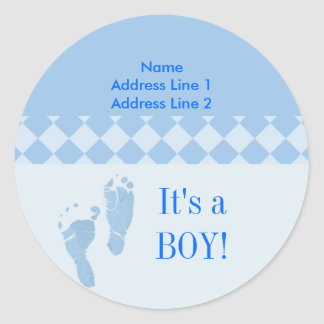 Round Address Label Blue Baby Feet Baby Shower Classic Round Sticker