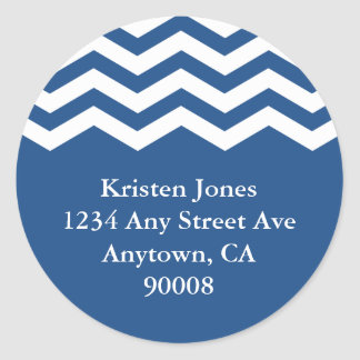 Round address label, chevron classic round sticker
