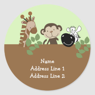 Round Address Label - Jungle Adventure Animals