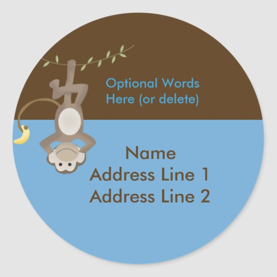 Round address label Monkey Around Blue & Brown