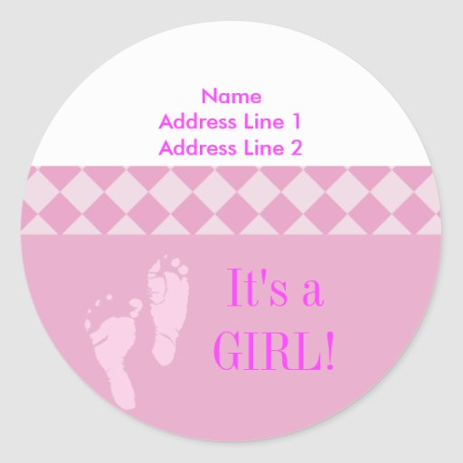 Round Address Label Pink Baby Feet Baby Shower