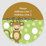 ROUND ADDRESS LABELS Baby Monkey Stickers