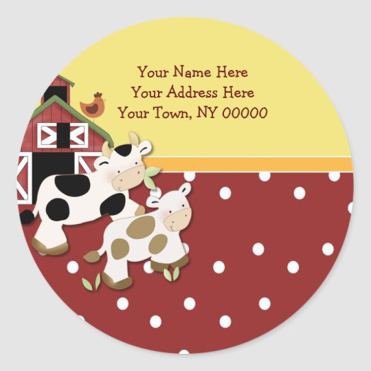 Round Address Labels Baby Moo Cow Red