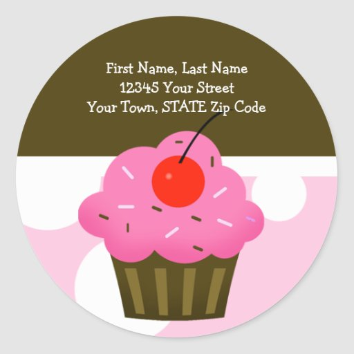 ROUND Address Labels Cherry Cupcake Brown/Pink