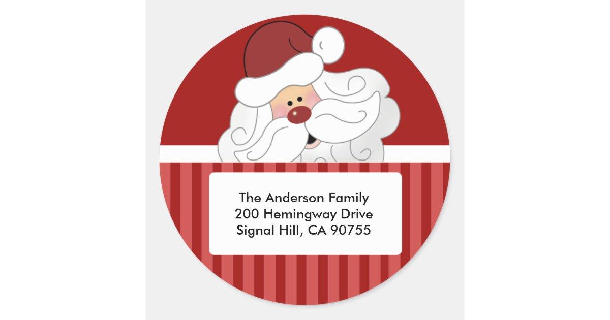 Round address labels cute santa claus holiday classic round sticker