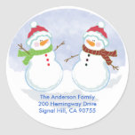 ROUND ADDRESS LABELS Cute Snowman Holiday Round Stickers