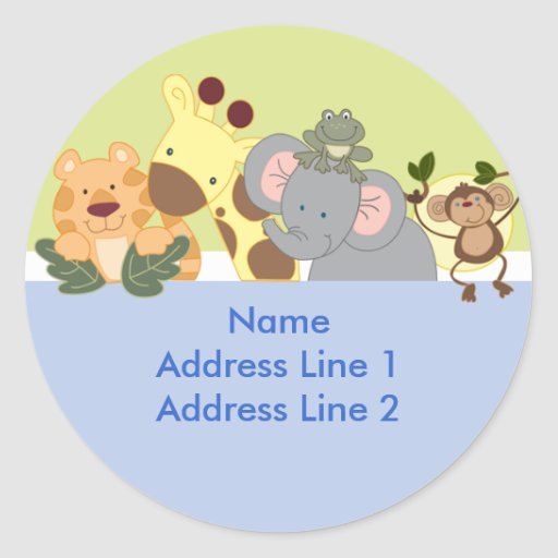 Round Address Labels - Jungle Safari Blue / Green