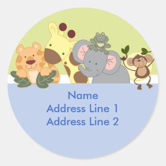 Round Address Labels - Jungle Safari Blue / Green Classic Round Sticker