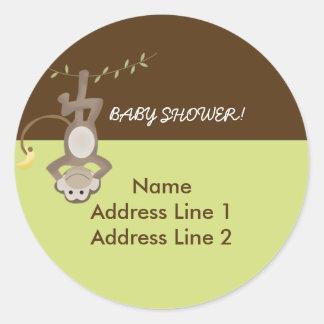 Round Address Labels Monkeying Around Green/Brown Classic Round Sticker