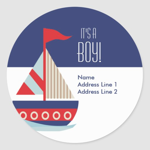 Round Address Labels - Sailing Sailboat Blue
