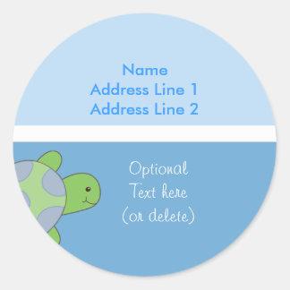Round Address Labels Sea Turtle Light & Dark Blue Classic Round Sticker