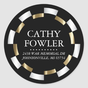 Professional Business Round Address White, Black and Gold Classic Round Sticker