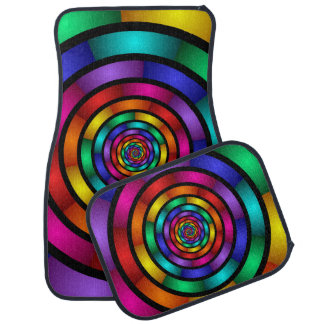 Round and Psychedelic Colorful Modern Fractal Art Car Floor Mat