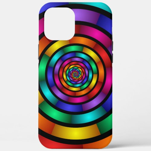 Round and Psychedelic Colorful Modern Fractal Art Phone Case