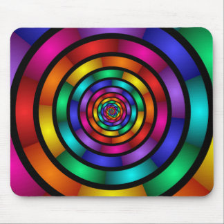 Round and Psychedelic Colorful Modern Fractal Art Mouse Pad