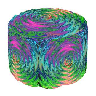 Round and Round Rainbow Swirl Pouf