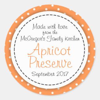 Round apricot preserve jam orange food label