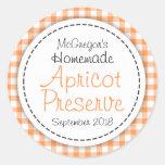 Round apricot preserve jam orange food label classic round sticker