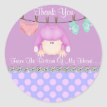 ROUND BABY GIRL SHOWER FAVOR STICKERS/Labels