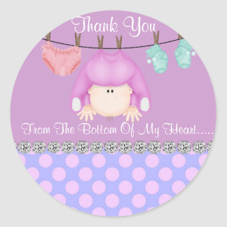 ROUND BABY GIRL SHOWER FAVOR STICKERS/Labels Classic Round Sticker