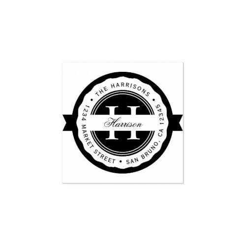 Round Badge  Classic Monogram Return Address Rubber Stamp