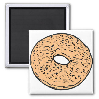 Round bagel 2 inch square magnet