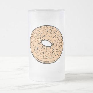 Round bagel 16 oz frosted glass beer mug