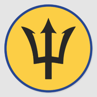 Round Barbados Flag Classic Round Sticker