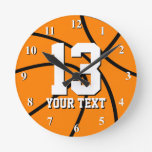 Round basketball clock with custom number and text