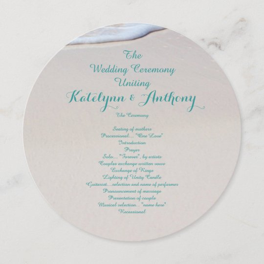 Round Beach Wedding Ceremony Program Template