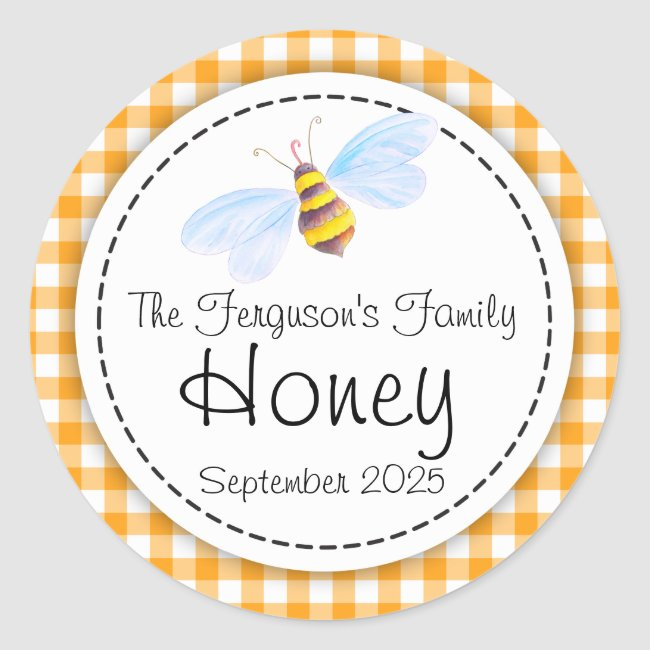 Round bee art honey orange jar top label