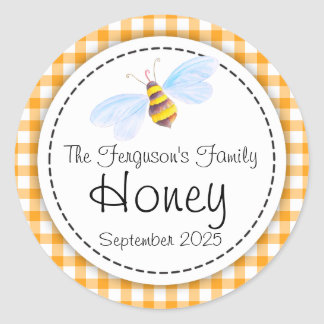 Round bee art honey orange jar top label classic round sticker